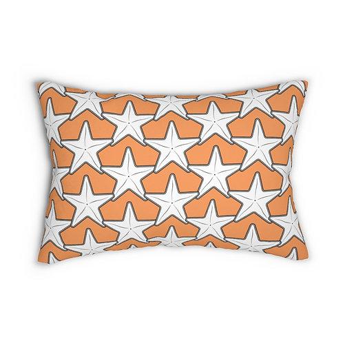 "Black and White Starfish Pattern 14"" x 20"" Pillow"