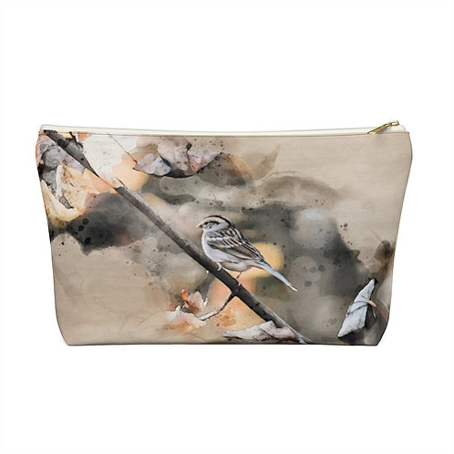 House Sparrow Watercolor Accessory Pouch w T-bottom