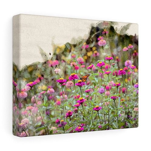 Wildflowers and Butterfly Watercolor Canvas