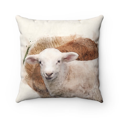 Lamb Watercolor Pillow