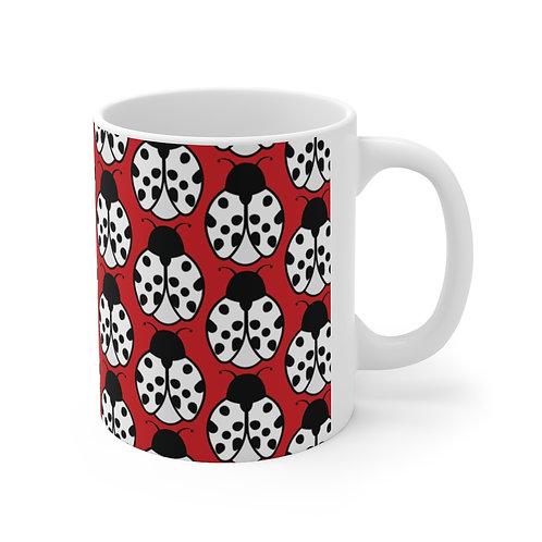 Black and White Ladybug Pattern Ceramic Mug 11oz