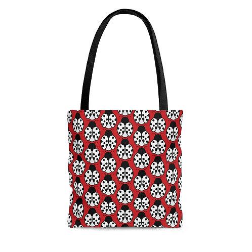 Black and White Ladybug Pattern Tote Bag