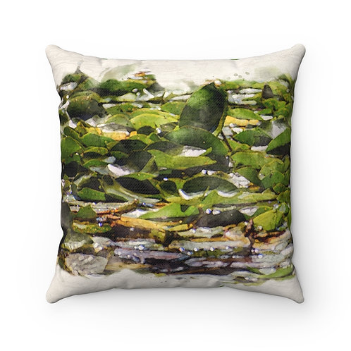 Lily Pads Watercolor Pillow