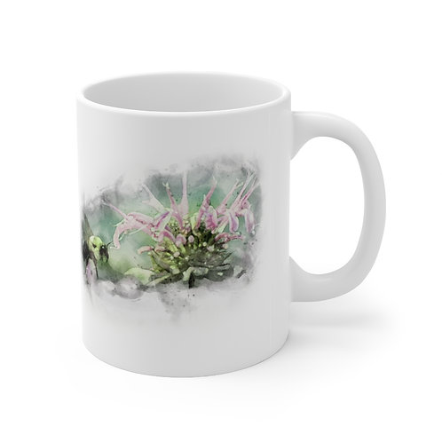 Bee and Flower Watercolor Ceramic Mug 11oz