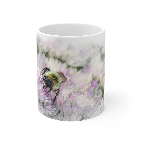 Bumblebee Watercolor Ceramic Mug 11oz