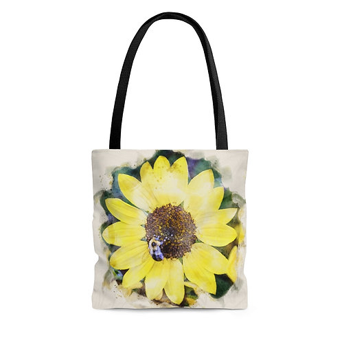 Sunflower and Bumblebee Watercolor Tote Bag