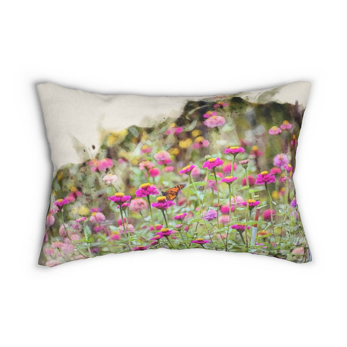 "Wildflowers and Butterfly Watercolor 14"" x 20"" Pillow"