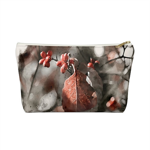 Berries and Leaves Watercolor Accessory Pouch w T-bottom