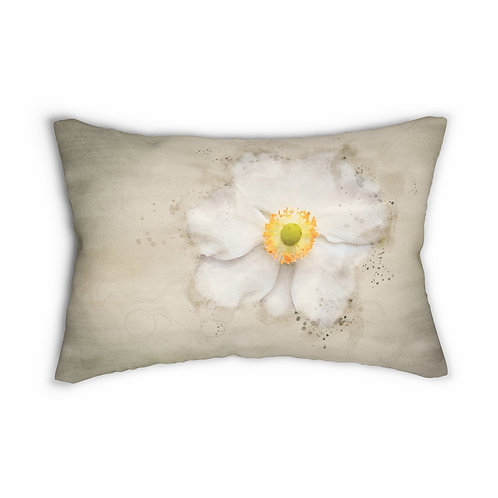"White Flower Watercolor 14"" x 20"" Pillow"