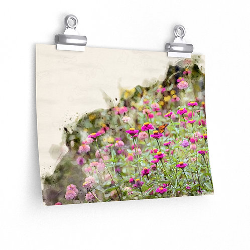 Wildflowers and Butterfly Watercolor Print