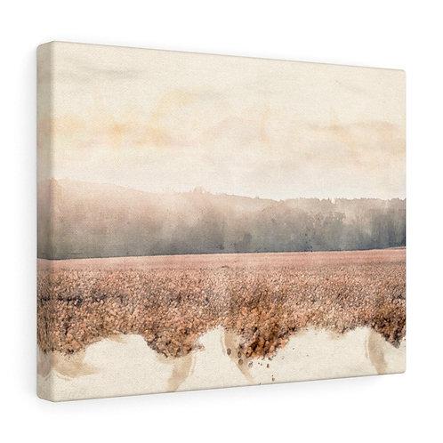 Landscape over Wheat Watercolor Canvas