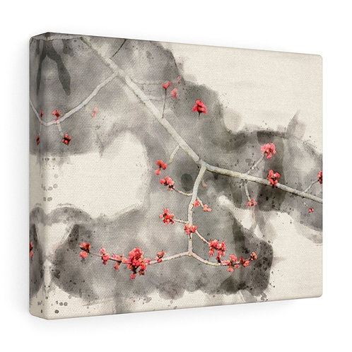 Small Red Leaves Watercolor Canvas