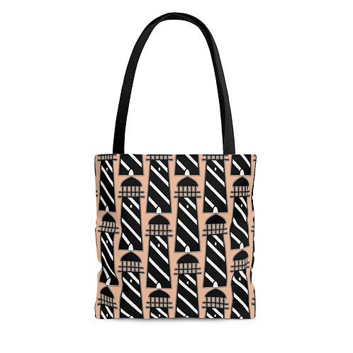 Black and White Lighthouse Pattern Tote Bag