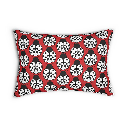 "Black and White Ladybug Pattern 14"" x 20"" Pillow"