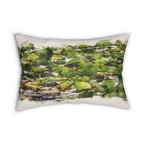 """Lily Pads Watercolor 14"""" x 20"""" Pillow"""