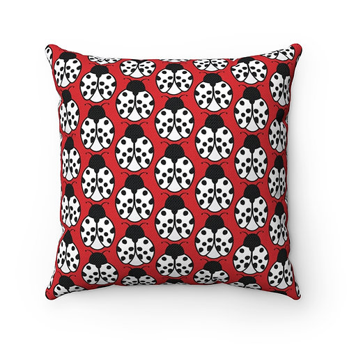 Black and White Ladybug Pattern Pillow