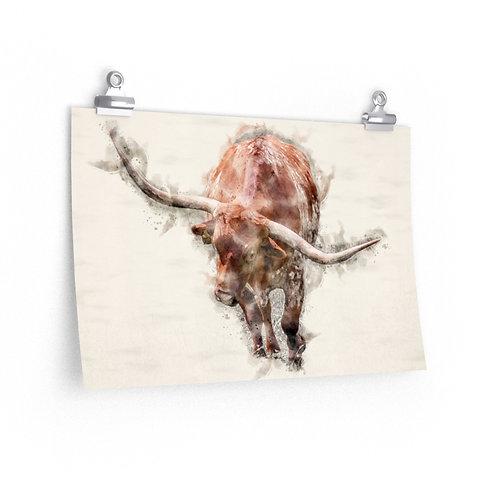 Red Longhorn Watercolor Print