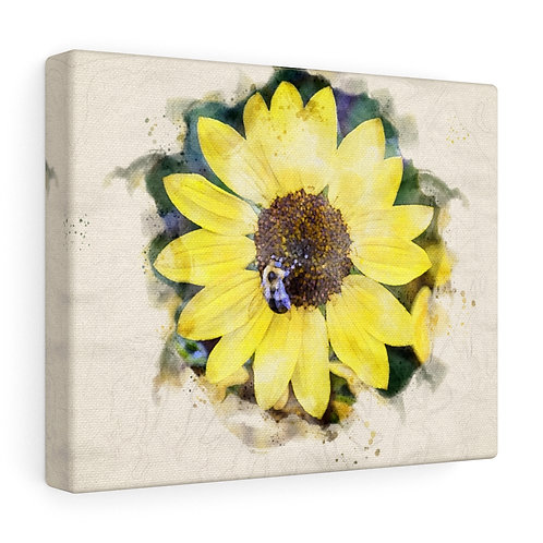 Sunflower and Bumblebee Watercolor Canvas
