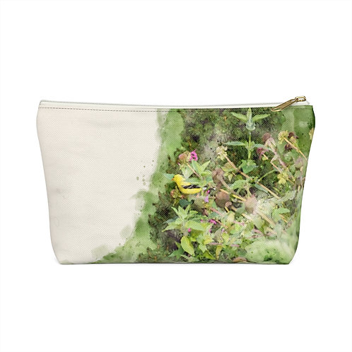 Goldfinch Watercolor Accessory Pouch w T-bottom