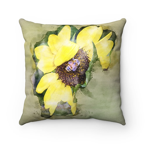 Honeybee and the Yellow Flower Watercolor Pillow