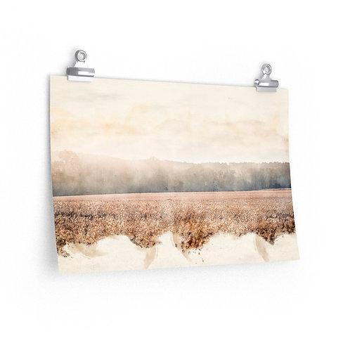 Landscape over Wheat Watercolor Print