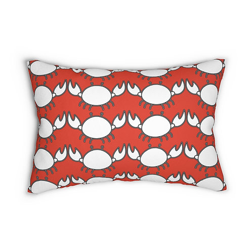 """Black and White Crab Pattern 14"""" x 20"""" Pillow"""