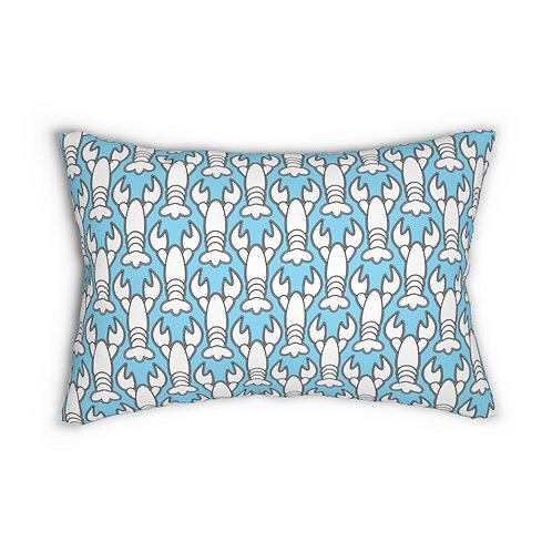 """Black and White Lobster Pattern 14"""" x 20"""" Pillow"""