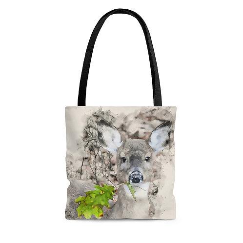 Deer with Green Leaf Watercolor Tote Bag
