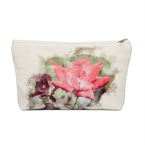 Red Rose Watercolor Accessory Pouch w T-bottom