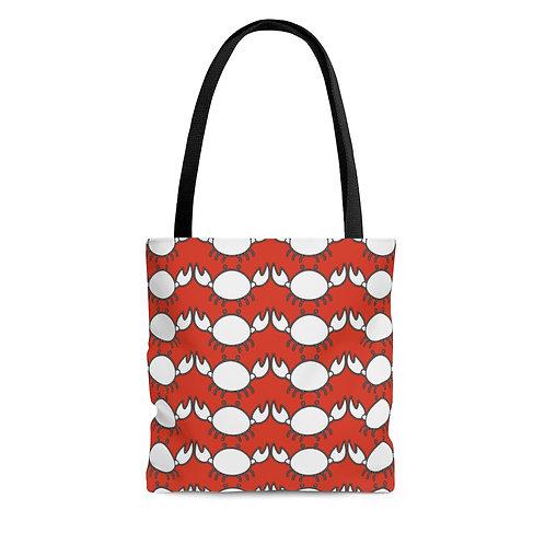 Black and White Crab Pattern Tote Bag