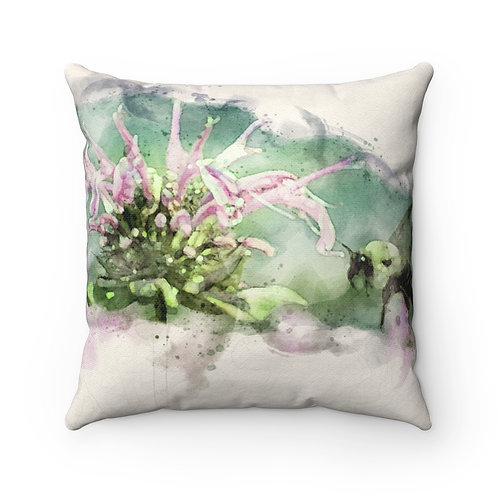 Bee and Flower Watercolor Pillow