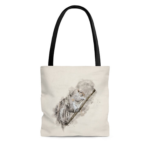 Squirrel Eating Watercolor Tote Bag