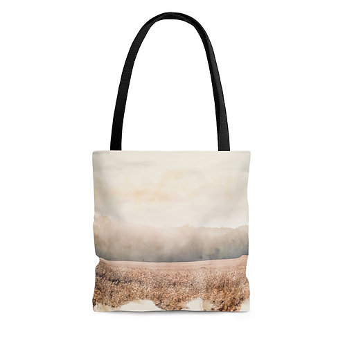Landscape over Wheat Watercolor Tote Bag