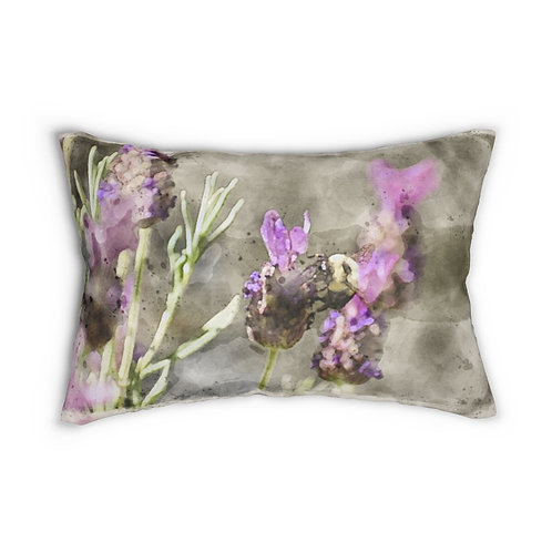 "Bee and Lavender Watercolor 14"" x 20"" Pillow"