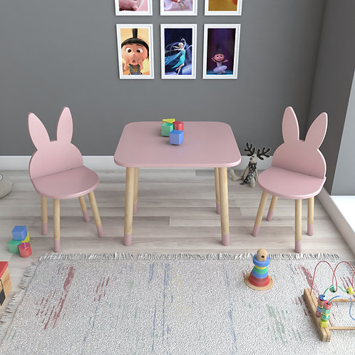 Pembe Tavşan Masa ve 2 Adet Sandalye Çocuk Masa Takımı