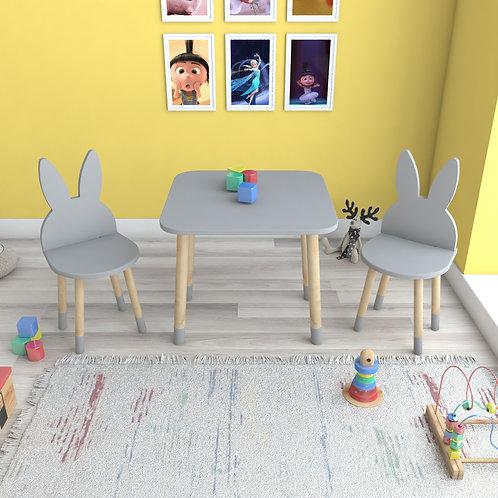 Nardo Gri Tavşan Masa ve 2 Adet Sandalye Çocuk Masa Takımı