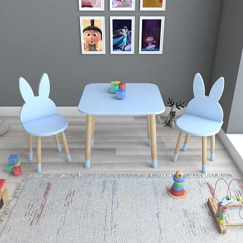 Buz Mavi Tavşan Masa ve 2 Adet Sandalye Çocuk Masa Takımı