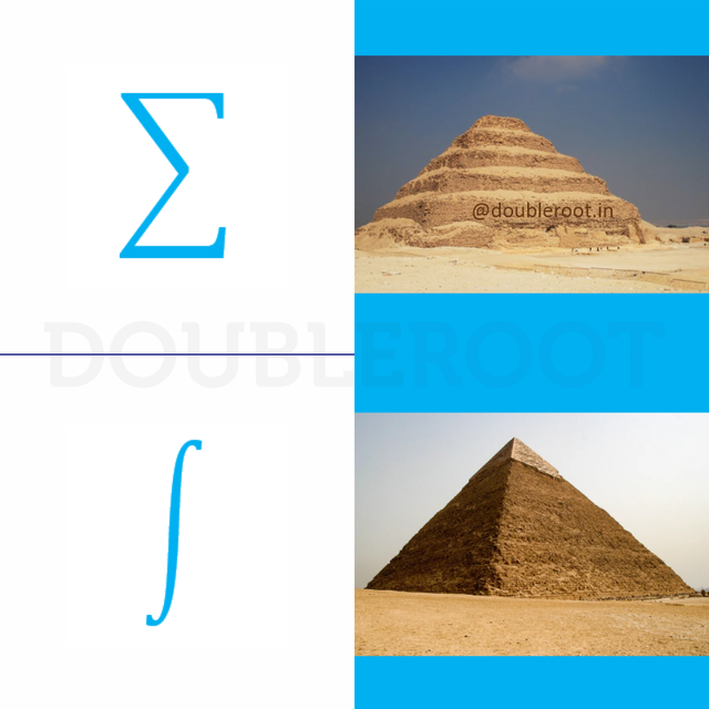 """The top symbol is sigma and used to describe a sum. The second symbol is an integral, and is essentially a sigma, that is """"nicer"""" and finds an area. In a sigma, the adding is less """"smooth"""" then in an integral, because you are adding values that are extremely small in an integral. It's like the difference between 0.5 plus 0.5 =1 and 0.1+0.1+0.1... =1"""