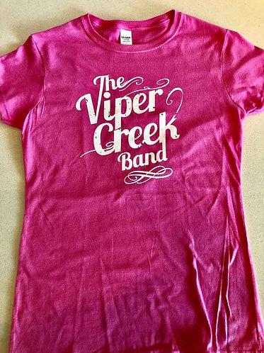 Ladies Pink T-Shirt with White logo