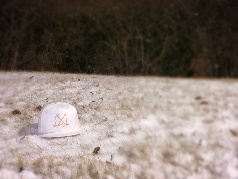 White/Gold AZ hat in the Chicago snow