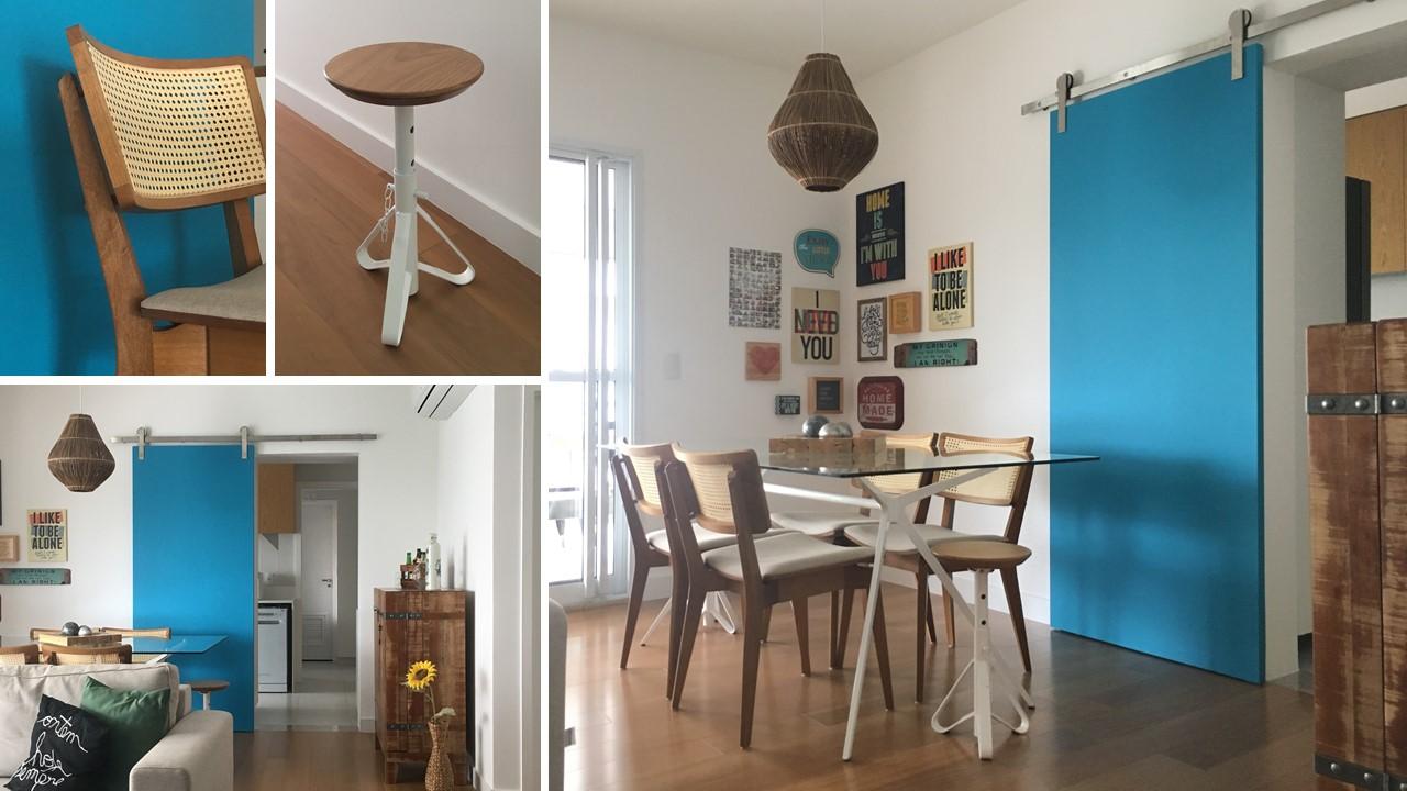 Sala de jantar porta azul quadros