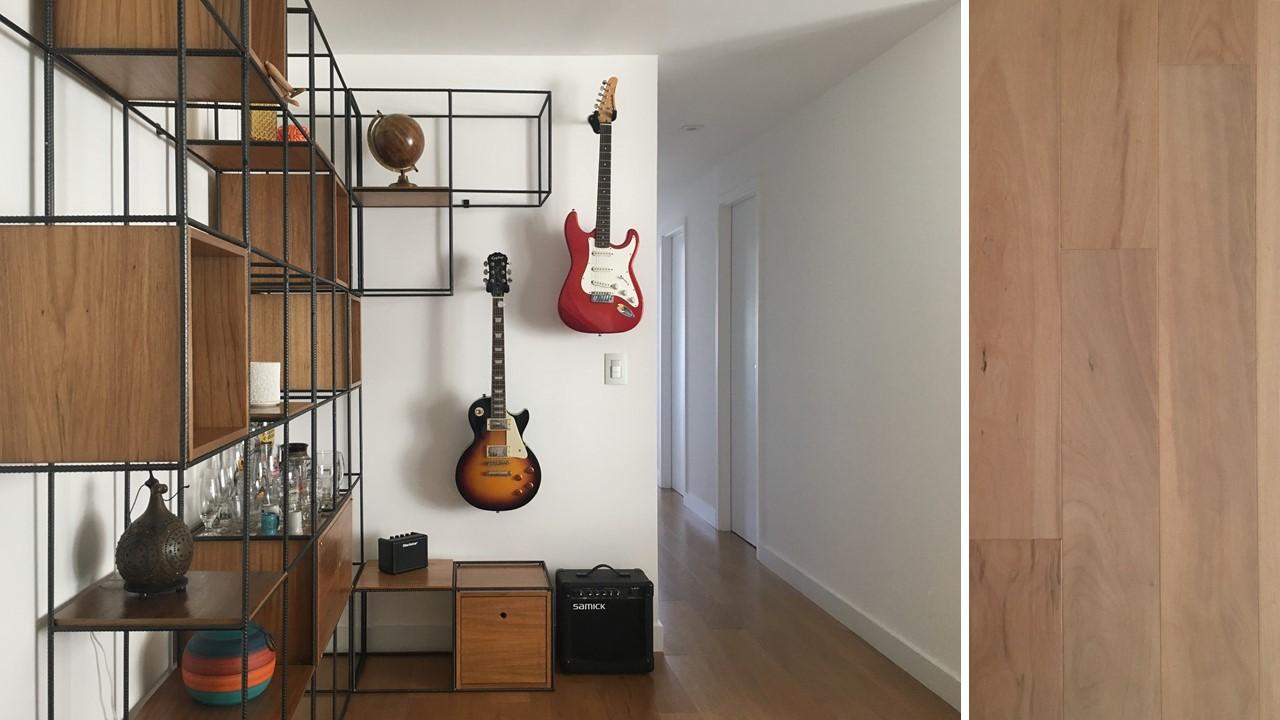 Estante de ferro e guitarras