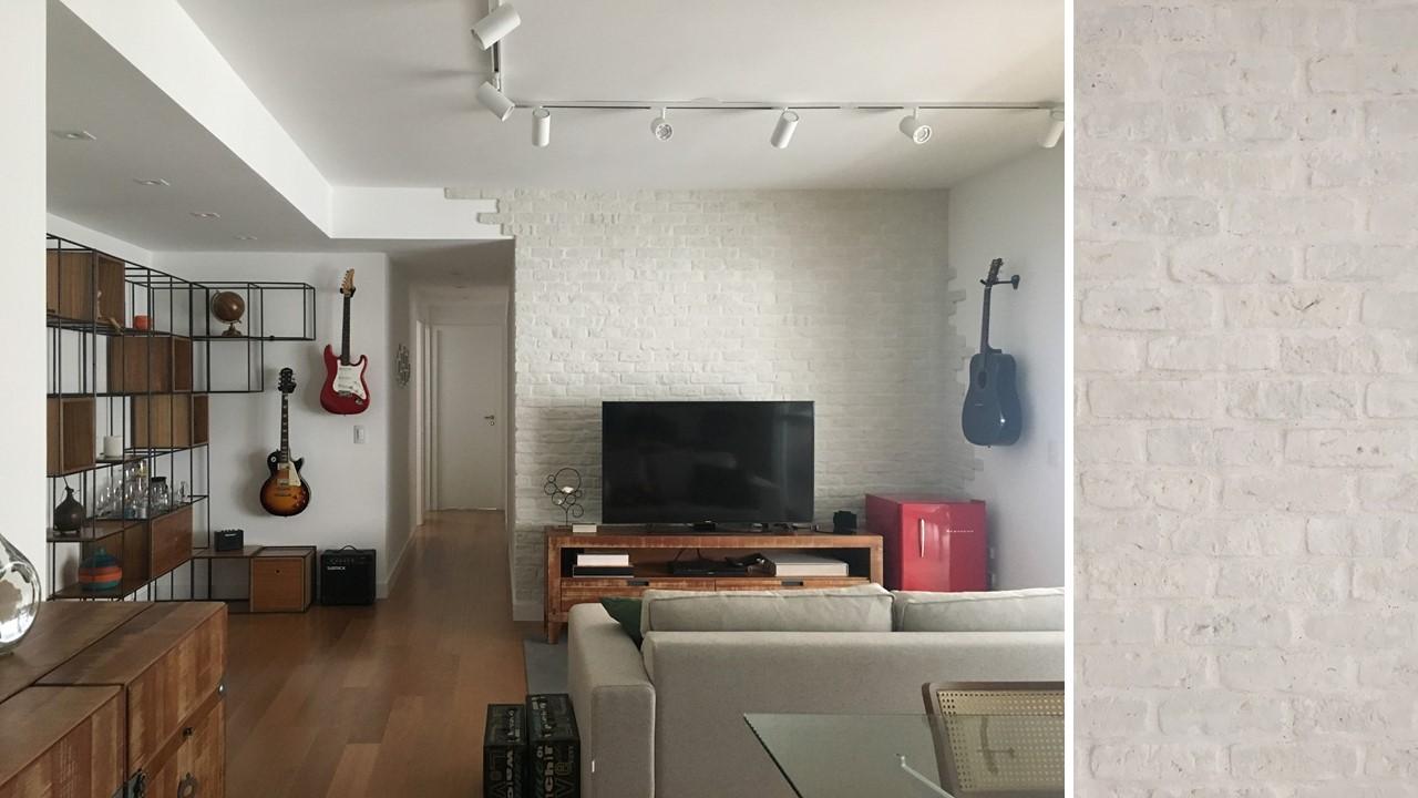 Sala de estar tijolinho violão