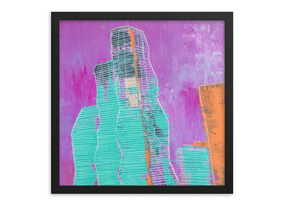 Square Purple Vista Tower Framed Poster Print