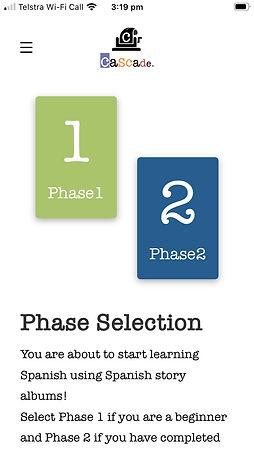 Cascade Spanish Phase Selection screen.j