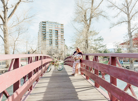 Fun Engagement Session around Whitney Peak Hotel in Downtown Reno, NV