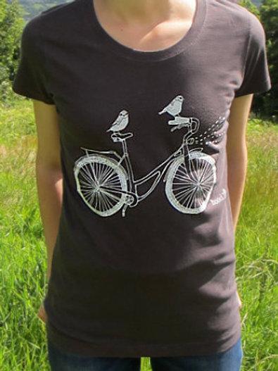 Women's Grey Birds On A Bike T Shirt