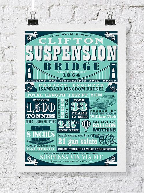 Suspension Bridge Typography Print
