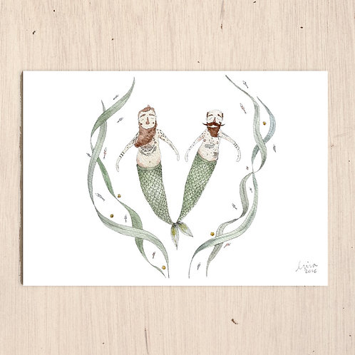 Two Mermen Print