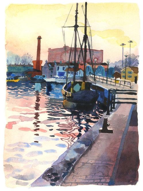'Boat On The Floating Harbour, Dusk' Print